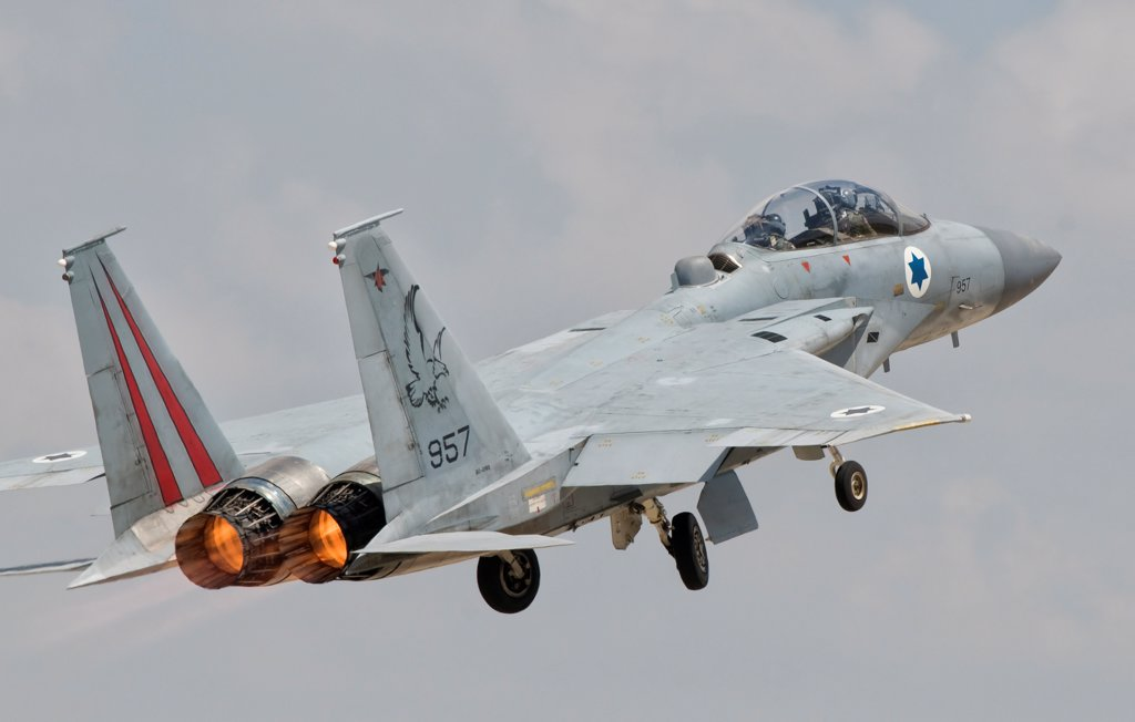 A McDonnell Douglas F-15D Eagle Baz aircraft of the Israeli Air Force taking off. : Stock Photo