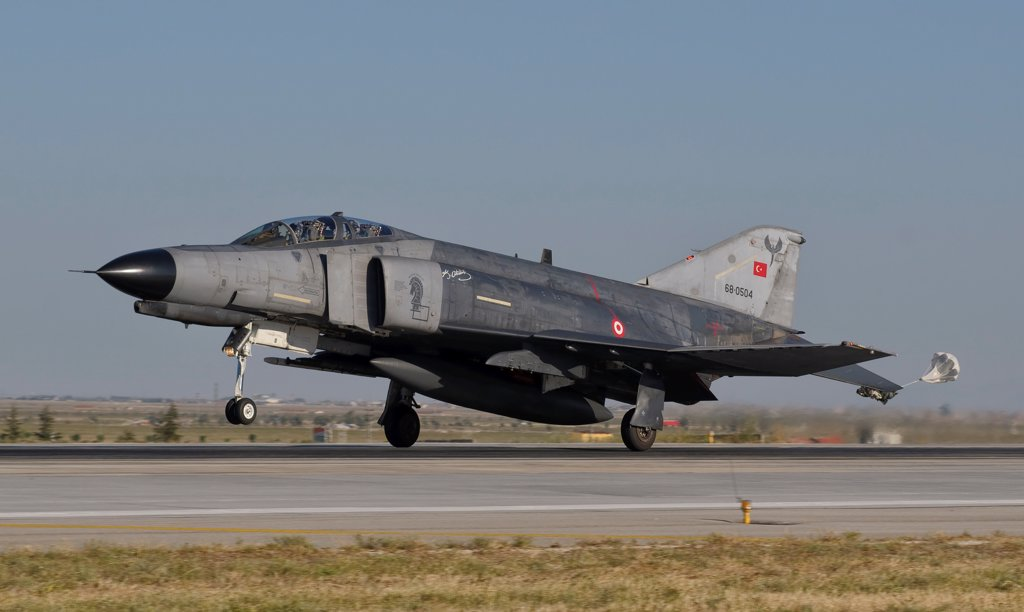 A McDonnell Douglas F-4 Phantom of the Turkish Air Force landing at Konya Air Base, Turkey. : Stock Photo