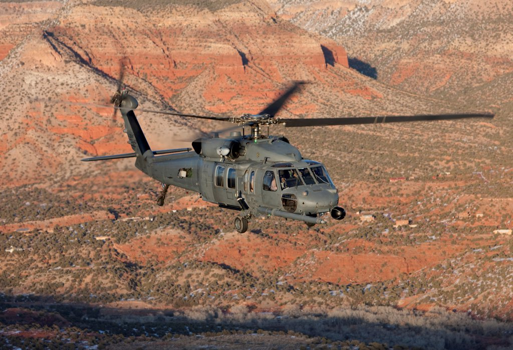 Stock Photo: 4239R-5152 An HH-60G Pave Hawk from the 512th RQS flies a low level route during a training mission out of Kirtland Air Force Base, New Mexico.