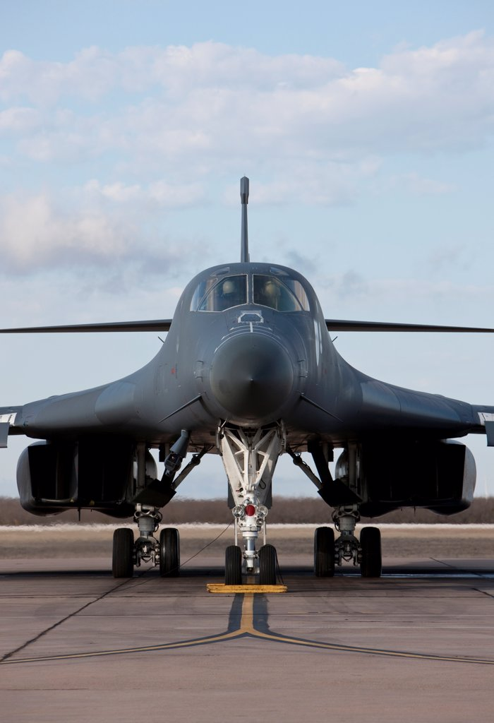 Stock Photo: 4239R-5212 A B-1B Lancer from Dyess Air Force Base, Texas, goes through pre-flight checks before a training mission.