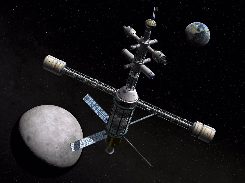 A lunar cycler has reached its furthest orbital point from the Earth, the apogee, and is rounding the far side of the Moon to begin its fall back toward Earth : Stock Photo