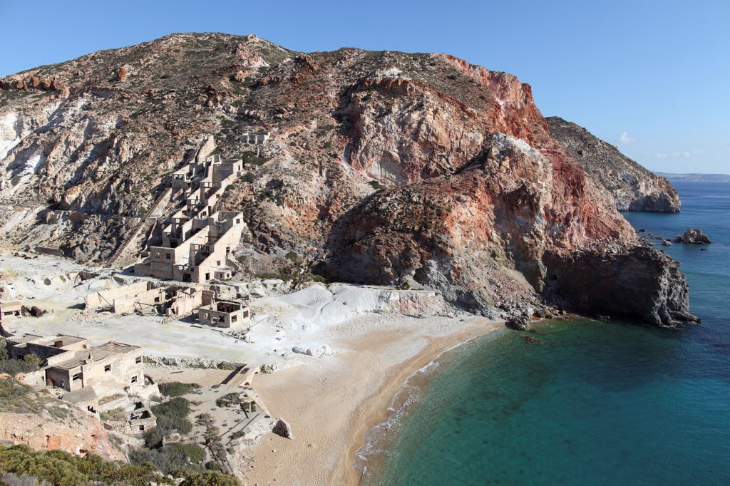 Stock Photo: 4239R-5444 Paliorema (alt. Paleorema) historic Sulfur Mine and processing facility, Milos Island, Greece. Overview of bay.