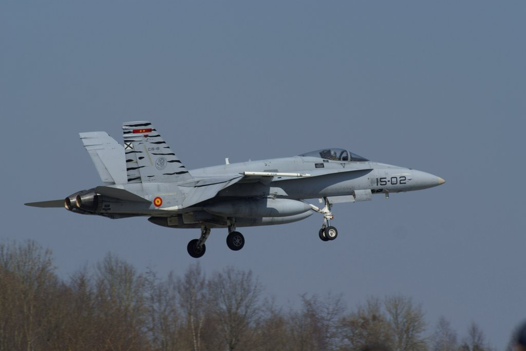 An EF-18 Hornet of the Spanish Air Force in flight over Florennes, Belgium. : Stock Photo