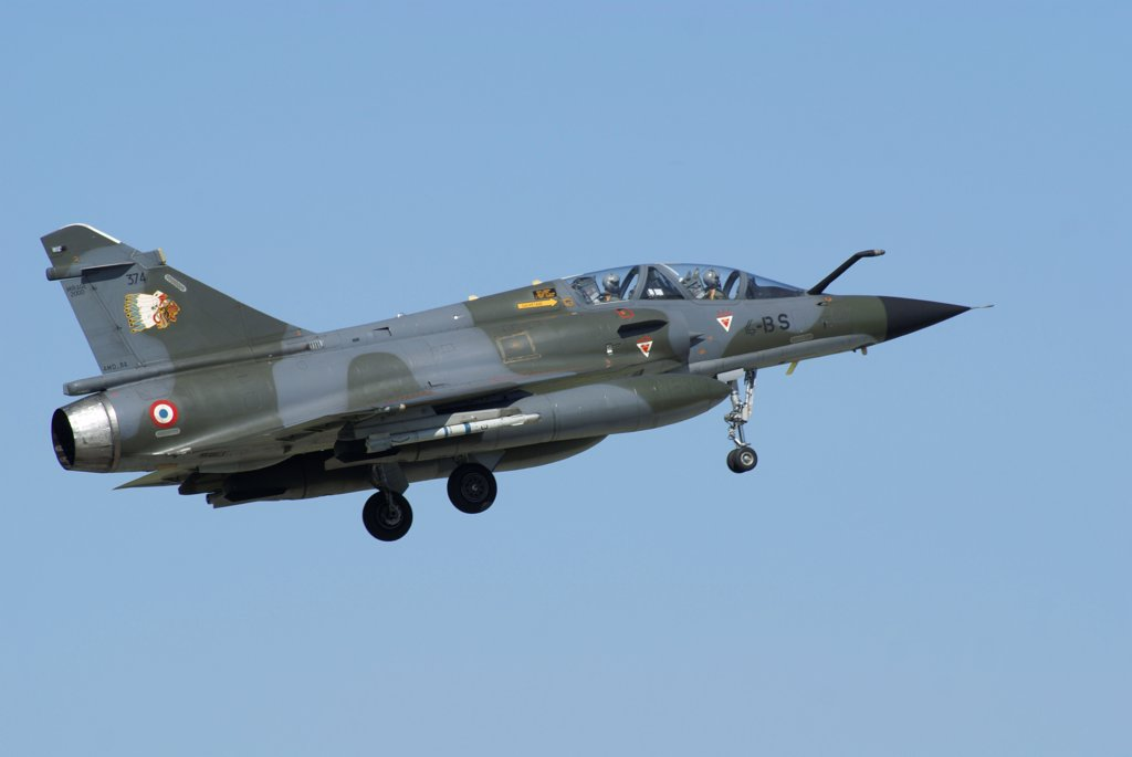 A Mirage 2000D of the French Air Force in flight over Florennes, Belgium. : Stock Photo