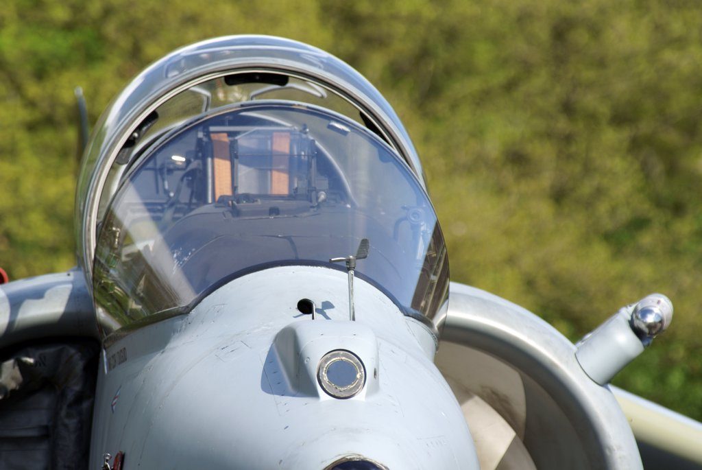Stock Photo: 4239R-5500 Close-up of a BAE Harrier II aircraft, Niederrhein, Germany.