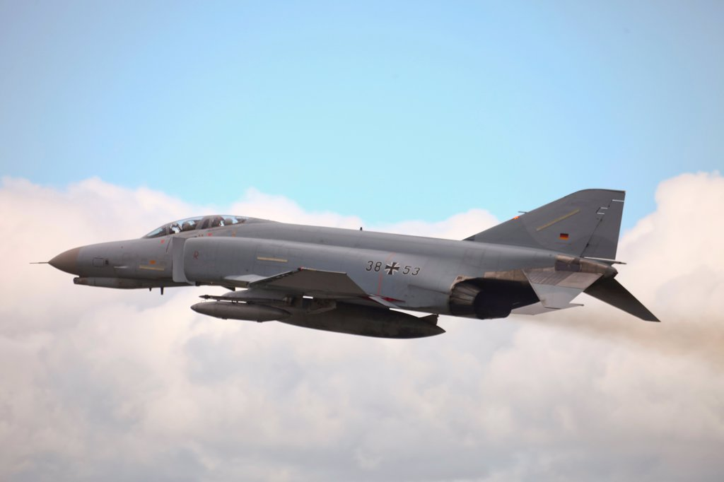 Stock Photo: 4239R-5522 A German F-4F Phantom in flight over Wittmund, Germany.