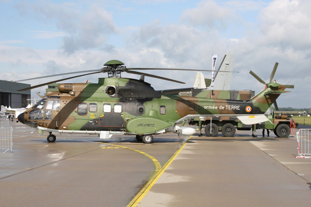 Stock Photo: 4239R-5554 Cougar Horizon early warning radar helicopter of the French Army, Geilenkirchen Airfield, Germany.