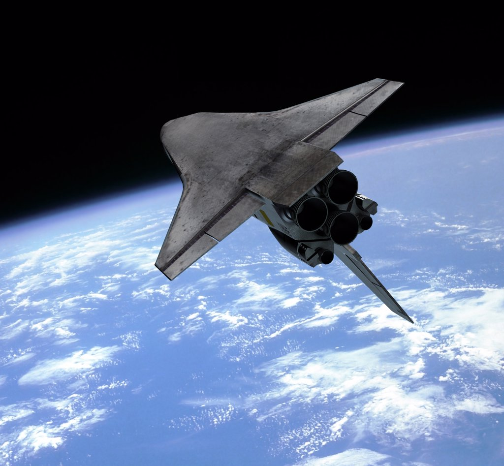 Artist's concept of a space shuttle entering Earth orbit : Stock Photo