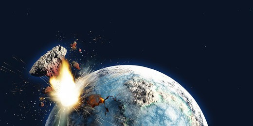 Stock Photo: 4239R-5801 Apocalyptic illustration of Earth exploding from the inside.