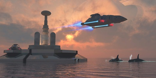 Artist's concept of a futuristic colony on a water planet. : Stock Photo