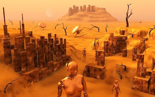 A team of robots gather the last of martian technology. : Stock Photo