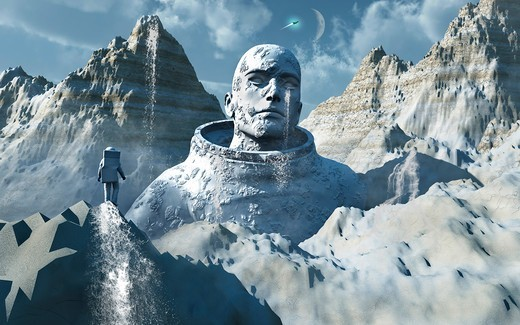 Stock Photo: 4239R-5842 A lone astronaut stares at a statue of a mysterious humanoid being.