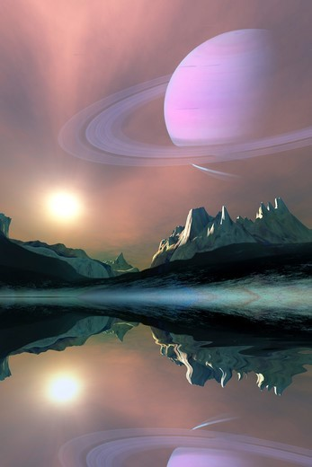 Stock Photo: 4239R-7502 The planet Saturn lights up the sky of one of its moons called Titan.