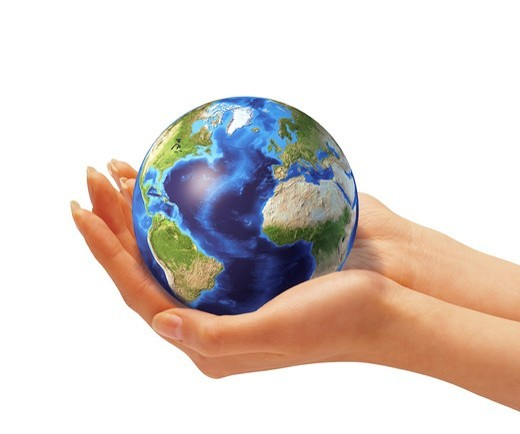 Stock Photo: 4239R-7863 Woman's hands holding an Earth globe.