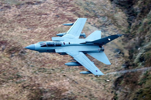 Stock Photo: 4239R-838 A Royal Air Force Tornado GR4 during low fly training in North Wales