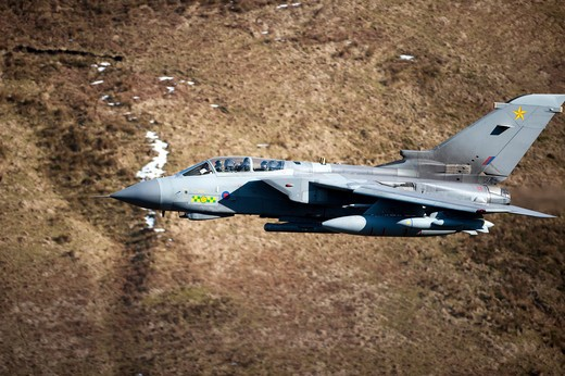 Stock Photo: 4239R-839 A Royal Air Force Tornado GR4 during low fly training in North Wales