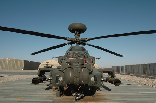 An Apache Helicopter at Camp Bastion, Helmand Province, Afghanistan : Stock Photo