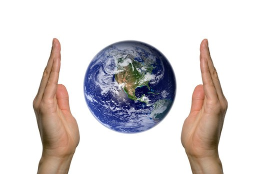 two hands holding the beatifull blue earth : Stock Photo