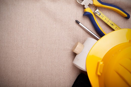 a mix of construction tools with copyspace : Stock Photo