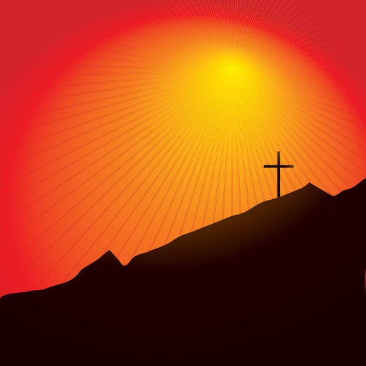 Easter inspired illustration of a cross on a mountain side at sunset : Stock Photo