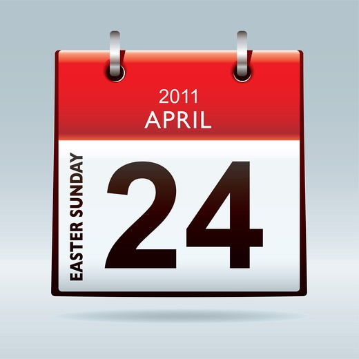 Stock Photo: 4251R-1361 Easter Sunday calendar icon with red banner and blue background