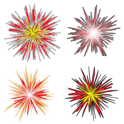 Four various explosions with cartoon style fire in bright colors : Stock Photo