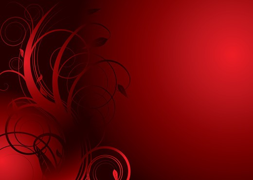 Floral abstract background in red and black with copy space : Stock Photo