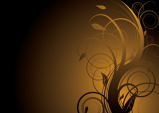 Stock Photo: 4251R-1557 Abstract floral background in gold and black with copy space
