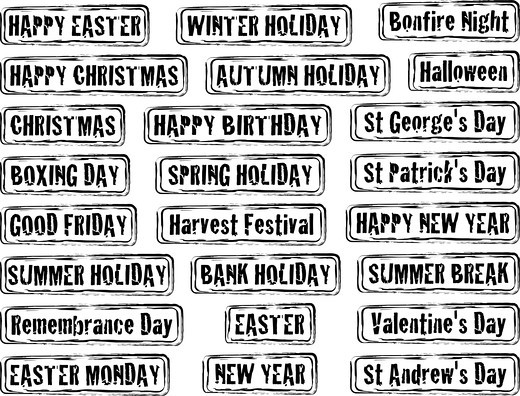 Stock Photo: 4251R-2356 Collection of holiday dates and day in stamp form