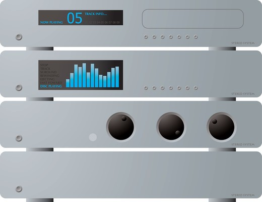 A illustration offour seperate stereo units in silver : Stock Photo