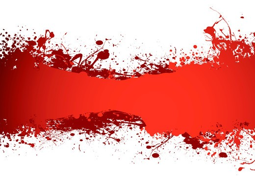 Stock Photo: 4251R-451 blood red grunge ink banner with room to add your own copy
