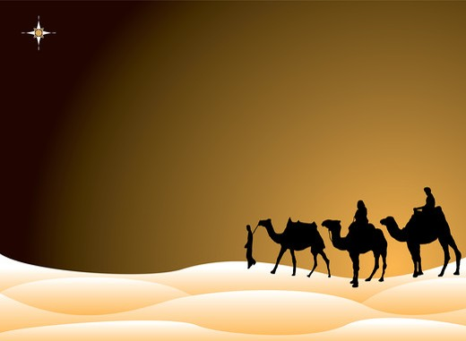 Traditional christmas scene with the three kings on camels crossing the desert : Stock Photo
