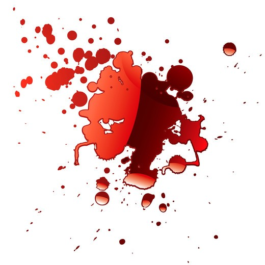 pool of blood red fluid with light reflection and splatter : Stock Photo