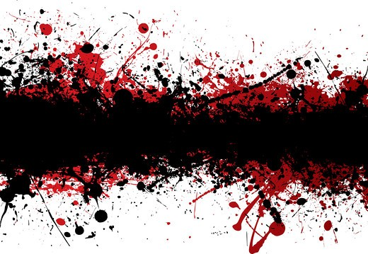 Blood red ink splat overlayed with black abstract banner : Stock Photo