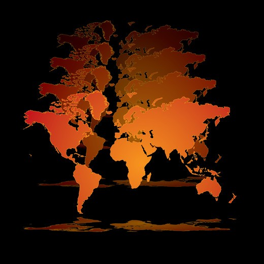 Illustrated 3d world in orange on a black background : Stock Photo