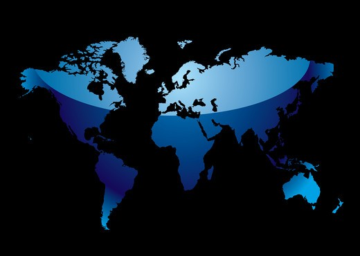 Blue world map with light reflection and black background : Stock Photo