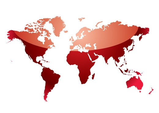 shades of red abstract world map with light reflection : Stock Photo