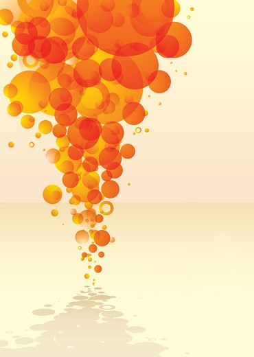 Stock Photo: 4251R-722 orange abstract bubble background with shadow and reflection