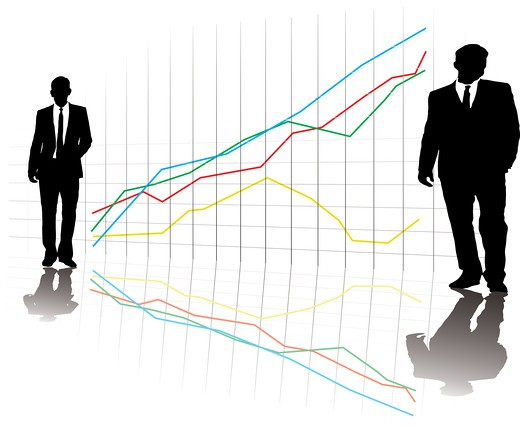 Stock Photo: 4251R-756 A group of business men in a line up on a grid with a chart in the background