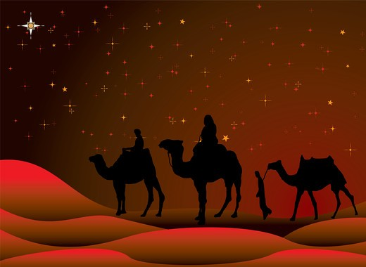 traditional christmas scene with camels and a starry sky : Stock Photo