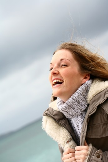 Stock Photo: 4252-10144 Woman beach happiness