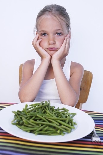 Little girl meal refusing : Stock Photo