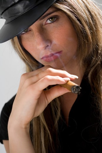 Stock Photo: 4252-11992 Woman cigar.