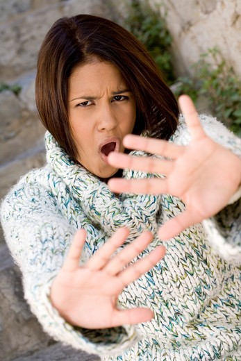 Stock Photo: 4252-12416 Woman refuse gesture