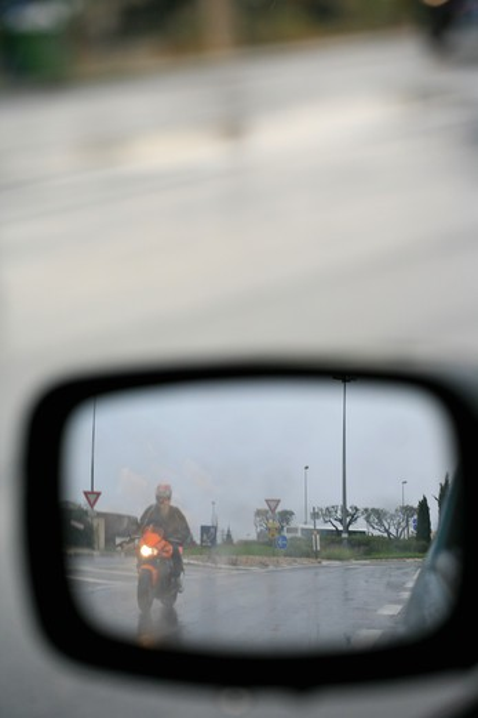 Stock Photo: 4252-12811 Rear view mirror rain.