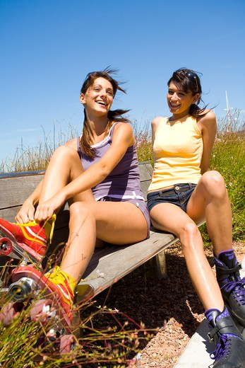 Stock Photo: 4252-13112 Women rollerblades.