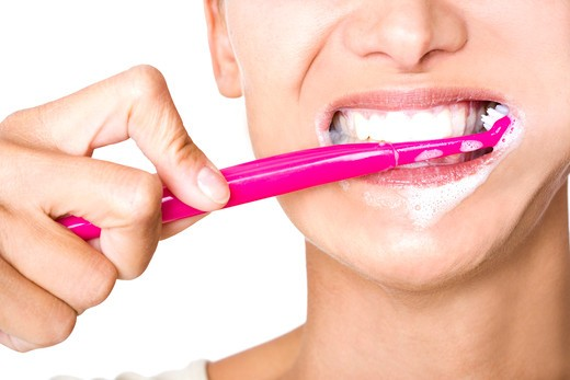 Woman toothbrush : Stock Photo