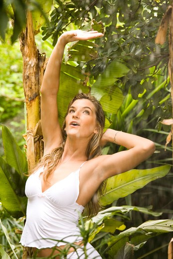 Stock Photo: 4252-15962 Woman rain jungle