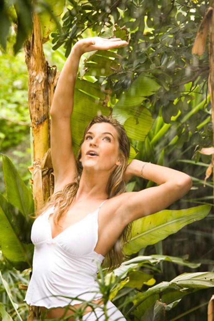 Stock Photo: 4252-15962 Woman rain jungle