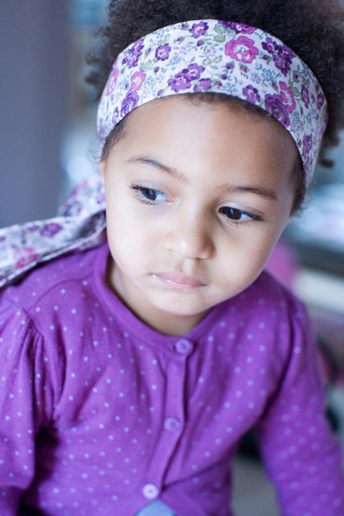 Stock Photo: 4252-1618 Little girl thinking
